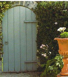 "Paint your garden gate the perfect ""Teresa's Green"" or ""Vert de Terre""- Farrow and Ball  - Brooke Giannetti"