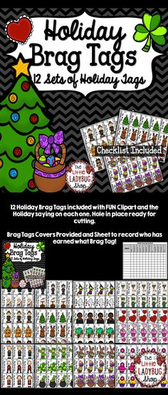 """Brag Tags is such a great tool to encourage positive behavior in your classroom! Your students will LOVE working hard to receive these """"Holiday"""" Brag Tags Holiday Brag Tags Tips ★ All BRAG TAGS have BRIGHT FUN Clipart to match Holiday"""