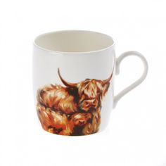 "At Home in the Country - ""Snuggling"" Highland Cow Fine Bone China Mug"