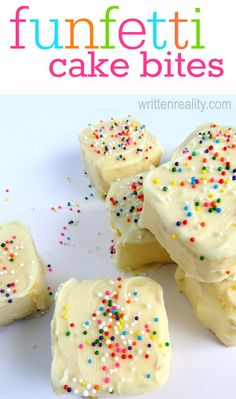 These Funfetti Cake Bites are a quick and easy Party on a Plate! {writtenreality.com}