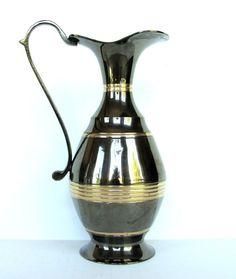 Vintage Art Noveau Brass Pitcher Jug India Tall Ewer Two Tone Smoked Vase Decor