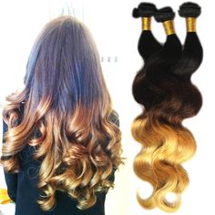 UK Local  3Bundles Ombre Human Hair Extension Body Wave Grade 6A Weft 20 20 20