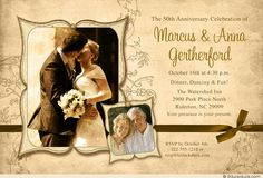 Heirloom photo 50th anniversary card uses vintage-style graphics for unique wedding party invitations! Share 1-4 vintage or recent photos on this design