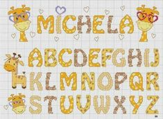 I really love this X-stitch alphabet and the cute giraffes Cross Stitch Letters, Cross Stitch Baby, Cross Stitching, Cross Stitch Embroidery, Alphabet And Numbers, Hand Embroidery Patterns, Le Point, Christmas Cross, Stitch Patterns