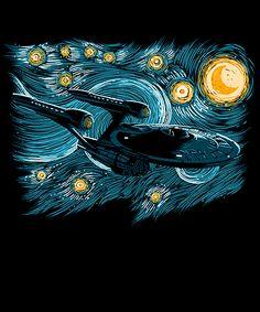"""""""Starry Trek"""" by ddjvigo The U. Enterprise in the style of Van Gogh's Starry Night Star Trek Meme, Star Wars, Star Trek Day, Star Trek Enterprise, Star Trek Voyager, Van Gogh, Stark Trek, Star Trek Images, Day Of The Shirt"""