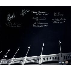 Yankees WS MVPs 9 Sig of Yankee Stadium Facades B&W 20x24 Photo (MLB Auth) (Sigs Ok Photos Scratched- No Jeter) - This piece comes complete with a Steiner Sports Certificate of Authenticity. Gifts > Licensed Gifts > Mlb > New York Yankees. Weight: 0.01