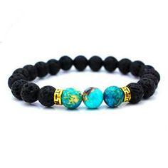 Womens Turquoise Lava Stone Mala Bracelet | Mala Beads Beaded Crystal Bracelet Turquoise Bracelet Turquoise Jewelry Turquoise Jewellery