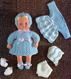 Dolls Clothes Knitting Pattern PDF for 15 inch Baby Doll, Tiny Tears, First Love, Dolls Outfit Pattern, Vintage Knitting Patterns for Dolls Knitted Doll Patterns, Knitted Dolls, Baby Knitting Patterns, Crochet Dolls, Crochet Baby, Free Knitting, Charity Knitting, Knitting Toys, Knitting Projects