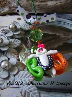 Polymer Clay Glittered Boo Ghost Ball Chain Necklace.  ©2012. Christina H Design