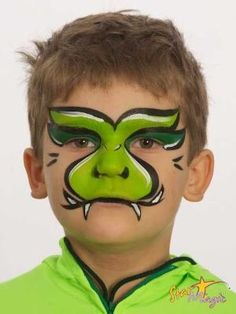 Simple face painting designs are not hard. Many people think that in order to have a great face painting creation, they have to use complex designs, rather then simple face painting designs. Dinosaur Face Painting, Monster Face Painting, Dragon Face Painting, Face Painting For Boys, Body Painting, Face Painting Tutorials, Face Painting Designs, Paint Designs, Snake Face Paint