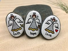 Faith Hope Love Angels Set of 3 Guardian Angel Pocket Rocks | Etsy