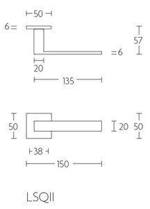 Deurkruk SQUARE LSQII-G op rozet Mat Zwart Floor Plans, Diagram, Floor Plan Drawing, House Floor Plans