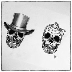 Couple Sugar Skulls - available at Creepy Creatures Tattoo & Piercing #tattoos #tattoo #tattooed #tattoodesign #eternalink #cheyenneprofessionaltattooequipment #skull #skulls #sugarskull #couple #blackngrey #drawing #painting #ink#inked #inkedup #tattooartist #aachen #germany #tattoostudio #