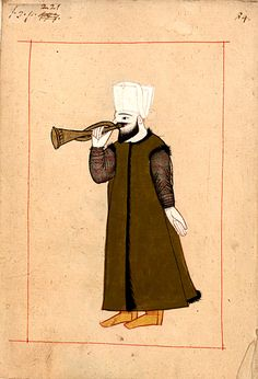 Trumpeter  in the Janissary music (mehtar) with a zurna trumpet. The 'Rålamb Costume Book' is a small volume containing 121 miniatures in Indian ink with gouache and some gilding, displaying Turkish officials, occupations and folk types. They were acquired in Constantinople in 1657-58 by Claes Rålamb who led a Swedish embassy to the Sublime Porte, and arrived in the Swedish Royal Library / Manuscript Department in 1886.