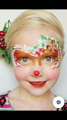 Facepaint done by AcaciaTanner with Fanciful Face Painting. Face Painting Images, Face Painting Tips, Face Painting Designs, Body Painting, Face Paintings, Christmas Face Painting, Christmas Paintings, Reindeer Face Paint, Pregnant Belly Painting