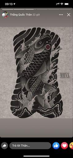 Carp Tattoo, Koi Fish Tattoo, Fish Tattoos, Japan Style, Japanese Tattoos, Irezumi, Japan Fashion, Lunges, Tattos
