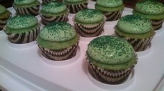 St. Patrick's Day cupcakes - Vanilla cupcakes filled with cream and Irish whiskey chocolate and cool whip frosting