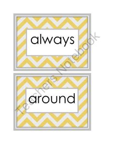 2nd grade chevron sight words in yellow and gray!