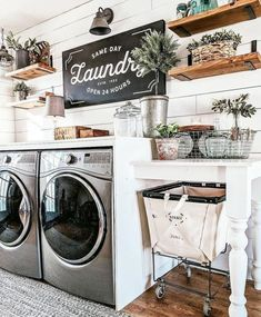 36 Cool Farmhouse Decor Ideas For Laundy Room. Cool 36 Cool Farmhouse Decor Ideas For Laundy Room. Have your ever thought about how many hours you spend in your laundry room if you added them up at […] Farmhouse Style Kitchen, Modern Farmhouse Kitchens, Farmhouse Decor, Farmhouse Design, Farmhouse Ideas, Farmhouse Homes, Rustic Laundry Rooms, Laundry Room Design, Signs For Laundry Room
