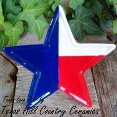Texas Lone Star Tea Bag Holder, Patriotic Red White Blue   TexasCeramics - Housewares on ArtFire