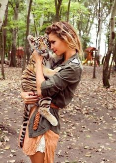 Image via We Heart It https://weheartit.com/entry/163304810 #animal #cat #dress #fashion #forest #friend #friends #girl #kitty #love #mom #mother #nature #scout #tiger #wildcat #woman