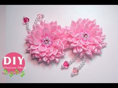 DIY.Kanzashi flower tutorial.Flowers dahlias Hairclip - YouTube