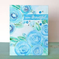 """New """"one stamp, five ways"""" blog post up using the gorgeous Sketch Ranunculus stamp set by @rejoicingcrafts for @simonsaysstamp . #sssmyfavorite #simonsaysstamp #watercolors #stamping #cardmaking #handmadecard"""