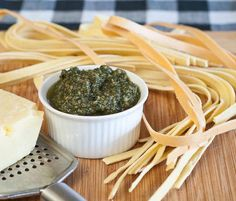 We freeze our fresh, homegrown basil every year so we can spend the winter making this basil pesto! It tastes so fresh, and is delicious on spaghetti squash, zucchini noodles, and atop chicken or steak!