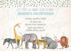 Watercolor Safari Animal Parade and Confetti Custom Birthday Party Invitation - Zoo Painted Boy Girl Joint Twins Circus Matching Back Side Blue Green Purple Orange Yellow Aqua Turquoise Lion Elephant Zebra Giraffe Tiger Rhino Rhinoceros Pink Flamingo Party Hats