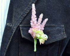 Pink astilbe boutonniere