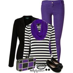 Purple, Black, and White, created by kellylynne68 on Polyvore