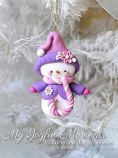 Handcrafted Polymer Clay Snowman Ornament: