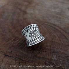 BOHO-Gypsy ring-Hippie ring-Bohemian ring-Statement ring R070-JewelryBOHO-Handmade sterling silver BOHO Tribal printed ring
