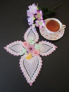 Easter cross crocheted doily