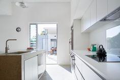 Kitchen view of Australian Federation era bungalow renovation, Palmerston St - Architecture by Vittino Ashe   NONAGON.style
