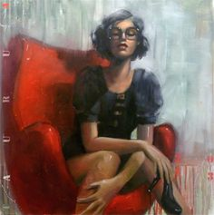 """Saatchi Online Artist: TAURUA Pascale; Oil, Painting """"The red egg chair"""""""