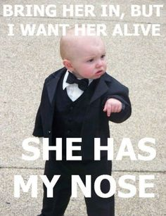 Check out: Bring her in! One of our funny daily memes selection. We add new funny memes everyday! Funny Shit, Funny Baby Memes, Funny Babies, Funny Cute, Funny Kids, The Funny, Funny Jokes, Funniest Memes, Funny Stuff