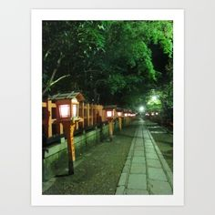Photographed by me in Kyoto on August 21, 2012 Japan, Kyoto, Yasaka shrine, night, light, corridor, stone, leaves, tree, lantern, summer, green, orange, oriental