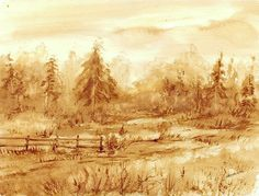 Na skraju lasu - watercolour painted with coffee - Maria Roszkowska Awesome Art, Cool Art, Game Logo Design, Coffee Painting, Coffee Art, Watercolour Painting, Art Designs, Paintings, Landscape