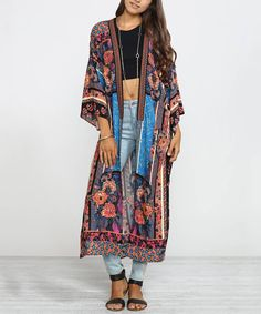Another great find on #zulily! Flying Tomato Black & Pink Floral Duster by Flying Tomato #zulilyfinds