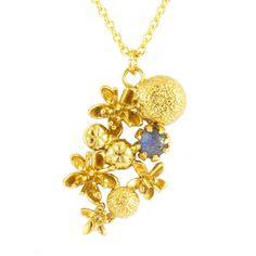 Clustered Floret & Little Flower Necklace via Polyvore