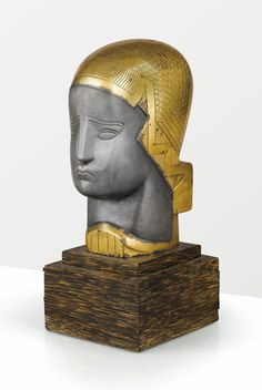 Joseph Csaky, Woman's head, silvered and gilt bronze, 1924