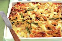 Ham, Cheese and Tomato Pasta Bake 1 (500g) packet rotini pasta (uncooked)  750g tomato pasta sauce, from a botle or premade  500g ham, cut into 1cm (approx) cubes  1 teaspoon minced garlic  1 teaspoon black pepper  1/2 teaspoon onion powder (or half an onion finely chopped or grated)  3 cups water  2 cups grated mozzarella cheese  1/4 cup grated Parmesan cheese
