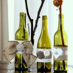 rustic wedding decorating ideas | shabby chic, burlap wedding decorations | embellished bottles | take a look these are perfect for table decor