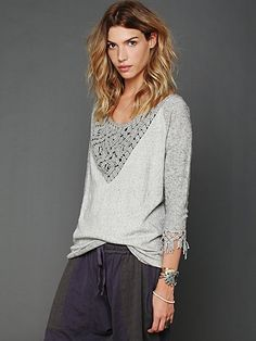 Crochet and Fringe Pullover, add a lace/macrame insert to a sweater/sweatshirt