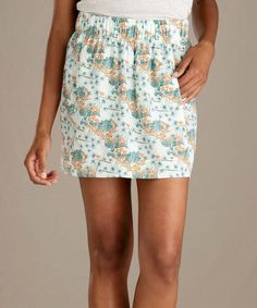 Toad&Co White & Seafoam Green Resort Hillrose Pocket Skirt - Women Skirts With Pockets, Mini Skirts, Green Resort, Woman Back, Tropical Pattern, Toad, Sea Foam, Ferns, Salmon