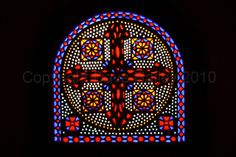 Stained Glass Window in Saint Virgin Mary's Coptic Orthodox Church at Old or Coptic Cairo, Egypt.