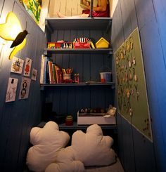 Look at this book nook- I love the cloud pillows!