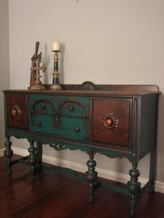 European Paint Finishes: Peacock Green Sideboard ~ ...be sure you click over and look at the details on this. Now for color, I like this.....
