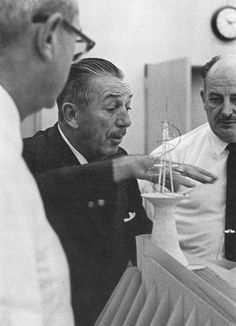 Walt and John Hench discussing Space Port, later named Space Mountain